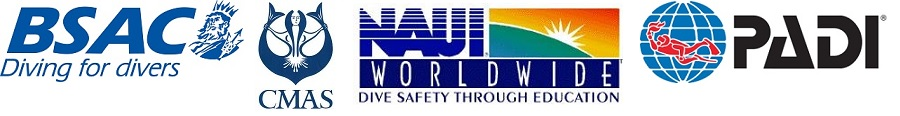 BSAC-CMAS-NAUI-PADI diving deep south